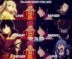 I'm glad this was made into a picture because any time I'd see this opening this is what would go through my mind. NaLu and GrUvia >~< Fairy Tail Quotes, Fairy Tail Funny, Fairy Tail Love, Fairy Tail Nalu, Fairy Tail Ships, Zeref, Gruvia, Fairytail, Fairy Tail Family