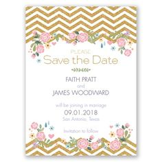 modern meets classic with this stunner! faux gold chevron in an english garden style. this would look so pretty on shimmer paper!