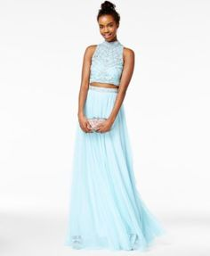 f008e87437 Say Yes to the Prom Juniors  2-Pc. Rhinestone A-Line Gown
