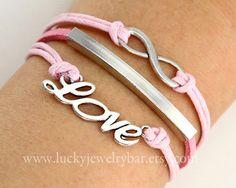 Infinity bracelet, love bracelet, antique silver love bracelet, pink leather bracelet,  pink wax cords bracelet