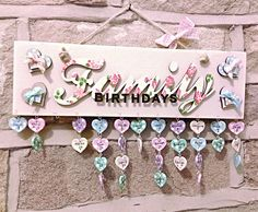 *Birthday Reminder Plaque* £18.95, free UK pp and overseas pp available...just add family/friends names and birthdates on the supplied tags under each month and never forget a birthday again! Handmade by The English Rose Jewellery Shop @ www.facebook.com/TheEnglishRoseJewelleryShop #Birthday #Reminder #Plaque #Custom #Handmade #Family #Blue #Cream #Green #Pink #Bow #Polkadot #Ribbon #Roses #Stencil #Cottage #Country #Chic #Tags