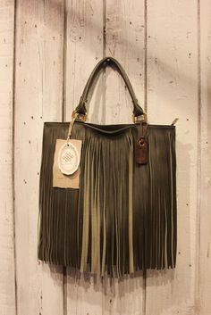 Handmade Italian Dark Green Leather Fringe by LaSellerieLimited