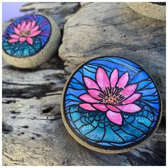"""Up close & personal with lotus stone """"B"""" from today's Insta-Market! This little baby is $20 & hand-painted with watercolor! Check out my IG stories for today to see it move! (More details on previous post!) #naturepluspigment #naturepluspigmentmarketmonday #watercolor #lotus #dstexture"""
