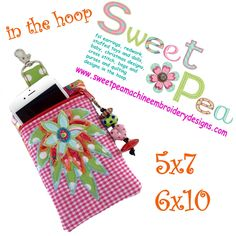 3D Flower Mobile Phone Purse and Zipper Purse 5x7 6x10 In The Hoop Machine Embroidery Designs