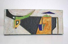 Schäffenacker Keramik Wandbild 43cm Reliefplatte Studio Künstler Ulm handgeformt
