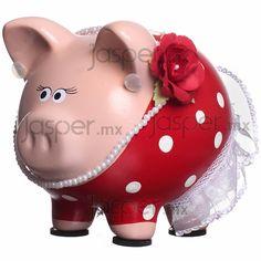 Alcancía de cerdito - Española Wooden Piggy Bank, Piglet, Pig Bank, Cute Piggies, This Little Piggy, Beautiful, Christmas, Crafts, Ceramics