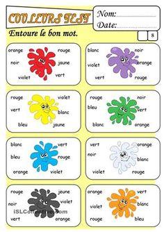 LES COULEURS   Les couleurs en français, Nom des couleurs