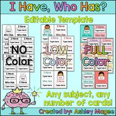 Newly Updated! Four different versions now included! Creating I have, Who has cards has never been easier! With these editable templates, simply click inside the text boxes to add your words, definitions, math problems, etc. Each template includes 24 cards including the start and end card.