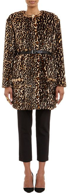 $1,735, Brown Leopard Fur Coat: Nina Ricci Leopard Print Faux Fur Belted Coat. Sold by Barneys Warehouse. Click for more info: https://lookastic.com/women/shop_items/174493/redirect