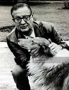 December Chilean President Salvador Allende pictured with his pet collie dog. Salvador Allende, was a left wing politician and President of Chile, when a CIA backed coup removed him from power. Left Wing, Collie Dog, Socialism, Special People, Politicians, South America, Revolution, Presidents, Chilean Food