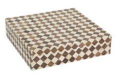 "10"" Bone-Tile Checkered Box, Brown"