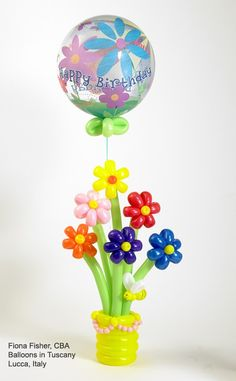 """A Qualatex Bubble Balloon tied into bouquet of twisted balloon """"flowers"""" makes a memorable #birthday delivery! Design by Fiona Fisher, CBA, of Balloons in Tuscany in Lucca, Italy."""