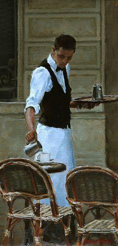 Parisian Waiter by Pauline Roche Oil ~ 12 x 5.5