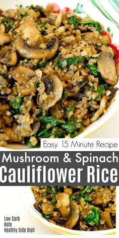 Low Carb Mushroom & Spinach Cauliflower Rice - Quick and easy side dish only 15 minutes to make! Christmasfood Low Carb Mushroom & Spinach Cauliflower Rice - Quick and easy side dish only 15 minutes to make! Sausage Recipes, Meat Recipes, Salmon Recipes, Vegetarian Recipes, Seafood Recipes, Pasta Recipes, Dinner Recipes, Chicken Recipes, Healthy Recipes