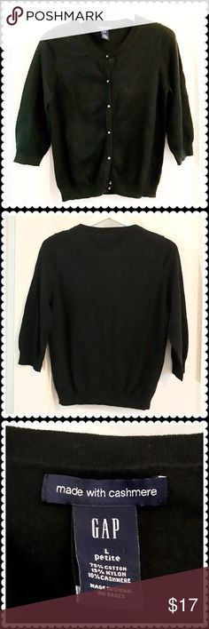 Gap cardigan Gap black cotton/cashmere  cardigan with clear stone buttons. 3/4 sleeves. Size PL. GAP Sweaters Cardigans