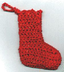 Crochet stocking ornament - maybe add white trim to the top?