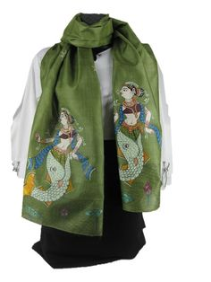 ****** Mermaid *****    Is it a lady? Is it a mermaid? No, it is the multi tasking woman of today who can navigate the choppiest of waters with a smile on her face, and a twirl of her scarf. This scarf with its hand painted scene of the mermaid princess, helps you channel your inner diva just right!    Women's Traditional Hand Painted Scarf by ArachneStyle on Etsy, $85.00