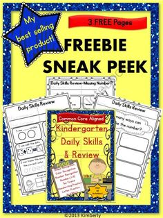 FREEBIE SNEAK PEEK Kindergarten Daily Skills & Review-Common Core Aligned from By Kimberly on TeachersNotebook.com (5 pages)  - These 3 FREE work pages (taken from my best selling product) are designed to support and reinforce the Common Core standards your students are working on the first months of school. Use as morning work, during skills block, stations, whole group, or as a