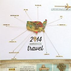 A nice way to set out your travels for the year: 2014 Domestic Travel  by SuzMannecke at @studio_calico