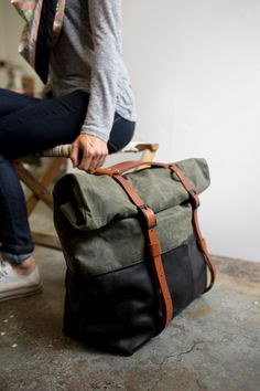 Weekender Bag, Waxed Canvas, Travel Bag, Backpack, or Overnight Bag in Black Leather & Olive Canvas; THE OLIVE HOTSHOT by Awl Snap