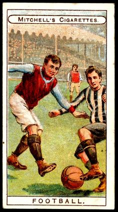 """Football - Cigarette Card - Mitchell's """"Prize Crop"""" Cigarettes, """"Sports"""" (series of 25 issued in ~ probably Aston Villa v Newcastle United in the 1905 FA Cup Final Aston Villa, Saint Charles Borromeo, Saint Roch, Funeral Cards, Image Foot, Vintage Holy Cards, Sign Of The Cross, Fa Cup Final, Collector Cards"""