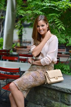 Leopard pencil skirt by stiletto meets espresso / blush / chanel / office fashion / animal print