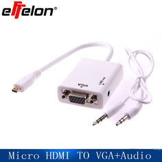 Effelon Micro HDMI to VGA with Audio Cable 1080P Micro HDMI to VGA Converter Adapter for Xbox 360 PC DVD