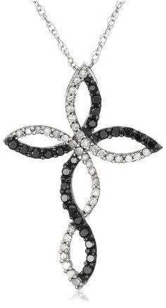 10k White Gold Black Diamond Cross Pendant (1/3 cttw) $210.. Beautiful