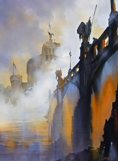 """https://www.facebook.com/MiaFeigelson From his Series """"Bridges of Rome"""" (2014) By Thomas W. Schaller, from NYC (current location, California) - watercolor; 30 x 22 in - - Architect and Watercolorist - http://thomasschaller.com/ https://www.facebook.com/thomaswschaller"""
