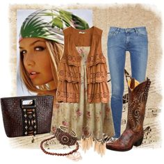 Blue skinny jeans with swede top and cowboy boots
