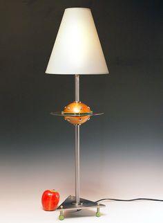 Retro table lamp. Flying saucer. Atomic modern. Bare bulb. Space age lamp art. Steam punk industrial. Handmade.129. $200.00, via Etsy.