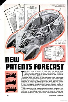 New Patents Forecast, the car of 1942: Popular Science
