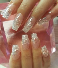 Sparkly acrylic nails, glitter fade nails, faded nails, acrylic nail tips. Sparkly Acrylic Nails, Glitter Fade Nails, Faded Nails, Acrylic Nail Tips, Glitter Nail Art, Acrylic Nail Designs, Aycrlic Nails, Cute Nails, Sculpted Nails
