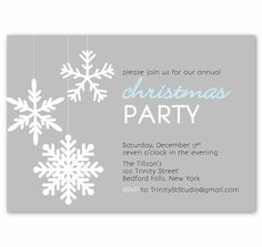 Christmas Holiday Party Invitation - Modern Retro Snowflakes 2012 - PRINTABLE DIY Digital or Printed Design