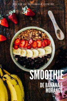 Que tal um Smoothie de banana com morangos para deixar seu café da manhã muito mais saudável? Ele é  sem lactose e vegano! | Receitas do Blog da Gê.