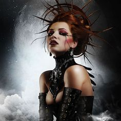 lunar poetry rendering, make-up, leather, headpiece