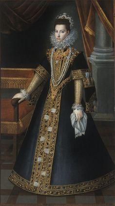 Jan Kraeck (aka Giovanni Carraca) born Haarlem died Turin en - Portrait of Caterina Micaela of Austria. Mode Renaissance, Renaissance Costume, Renaissance Fashion, Renaissance Clothing, Tudor Fashion, Historical Costume, Historical Clothing, 1500s Fashion, 16th Century Fashion