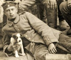 German soldier with a dog, 1914-18, German Photographer