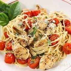 Spaghetti with sauteed chicken and grape tomatos