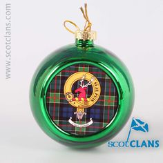 Colquhoun Clan Crest and Tartan Christmas Ornament. Free worldwide shipping available