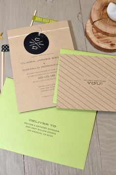 Modern Monogram Wedding Invitation on Kraft