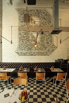 Painted Reclaimed Penthouse Brick Tiles used in the Byron burger restaurants