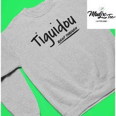 Tiguidou right through Crewneck Unisexe Gris chandail coton ouaté sans capuchon Creation T Shirt, Crew Neck, Sweatshirts, Sweaters, Shopping, Fashion, Gray, Unisex, Cotton