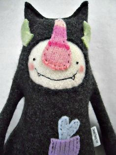 Stuffed Animal Monster from Upcycled Wool Sweater by sweetpoppycat from sweetpoppycat on Etsy. Saved to Toys, dolls, felties and ooak. Monster Crafts, Felt Monster, Monster Toys, Monster Mash, Stuffed Animal Storage, Stuffed Animal Cat, Stuffed Animals, Recycled Sweaters, Wool Sweaters