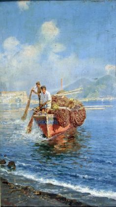 Carmine Giardiello (Napoli 1871 - 1916) Pescatori a mare.