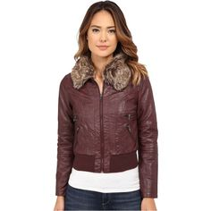 dollhouse Zip Front Bomber Jacket w/ Det Faux Fur Collar Women's Coat,... ($16) ❤ liked on Polyvore featuring outerwear, jackets, burgundy, long hooded jacket, dollhouse jackets, red jacket, flight jacket and long jacket