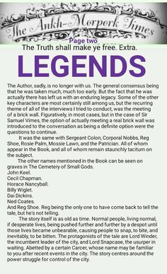 The Ankh-Morpork Times. The Truth shall make ye free. Extra. LEGENDS. Page two. by David Green 25 May 2016