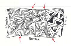 .Enthusiastic Artist: PARADOX, and then some.......     This is a rectangle divided in three. The red arrows show where the divisions are       TIP #5: Munchin is a tangle that flows particularly nicely placed next to Paradox. Others that could work well this way are Tri-po, Facets, possibly Hibred (scroll down the link). I can also see possibilities for Tripoli (another of my favorite tangles) and Betweed.