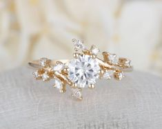 Rose gold engagement ring Diamond Cluster ring Unique engagement ring Delicate leaf wedding Bridal set Promise Anniversary Gift for women - Schmuck - Engagement Rings Cluster Ring, Diamond Cluster Engagement Ring, Morganite Engagement, Engagement Ring Settings, Vintage Engagement Rings, Diamond Wedding Bands, Halo Engagement, Engagement Rings Nature, Gold Bands
