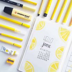 60 Amazing Yellow Bullet Journal Spread Ideas - New Sites Bullet Journal Inspo, April Bullet Journal, Bullet Journal Monthly Spread, Bullet Journal Notebook, Bullet Journal Aesthetic, Bullet Journal Ideas Pages, Bullet Journal Layout, Bullet Journal Months, Bullet Journal Design Ideas